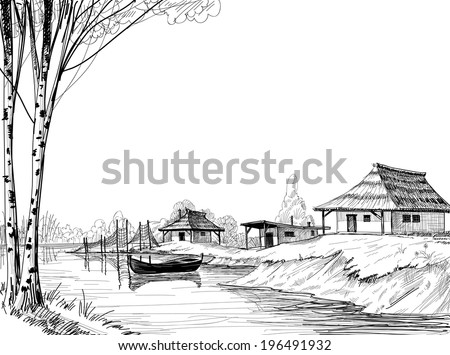 Fishing village sketch - stock vector