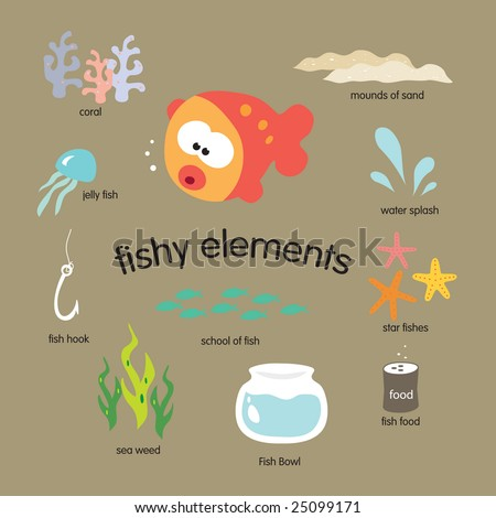 Fishy Elements Vector Set