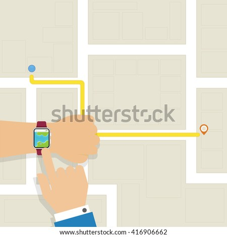 Fist hand technology smart watch to find location - stock vector