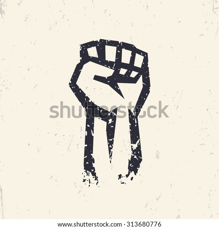 Fist held high in protest, grunge silhouette, vector - stock vector