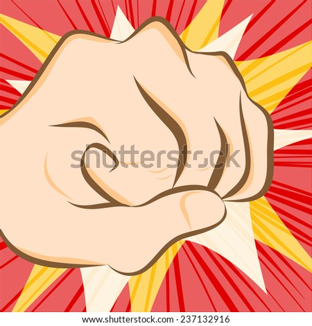 fist hit abstract background - stock vector