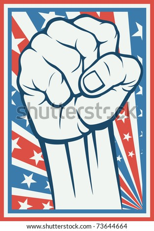 fist - poster (Inspired by the American flag) - stock vector