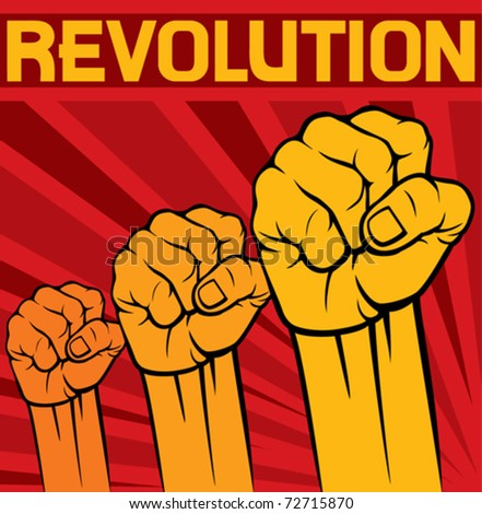 fist - symbol of revolution poster - stock vector