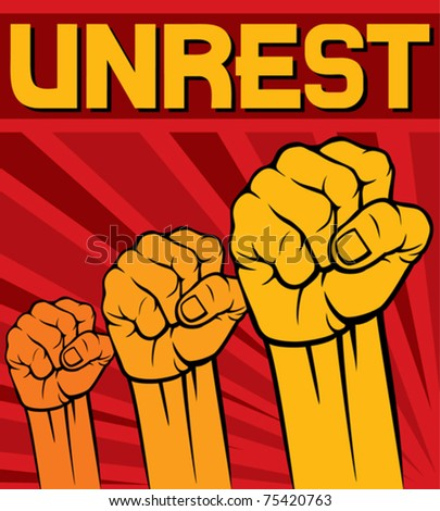 fist - symbol of unrest - stock vector