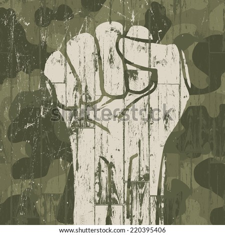 Fist symbol (revolution) on military camouflage background. Vector. - stock vector