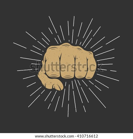 Fist with sunbursts in vintage style. Vector illustration  - stock vector