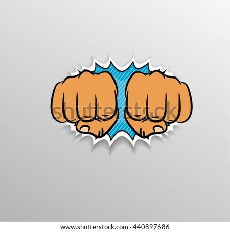 Fists hitting in pop art style. - stock vector
