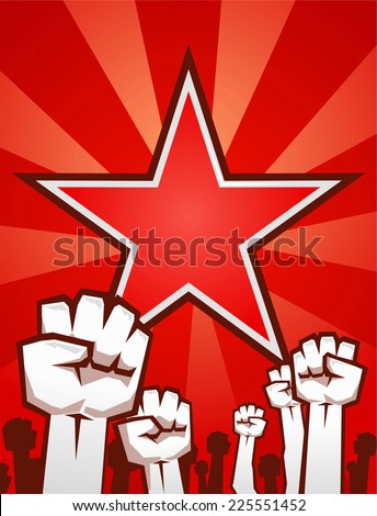 Fists up supporting the revolution - stock vector