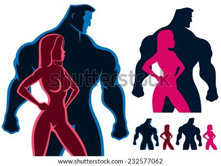 Fit couple silhouettes in 4 versions. No transparency and gradients used. - stock vector