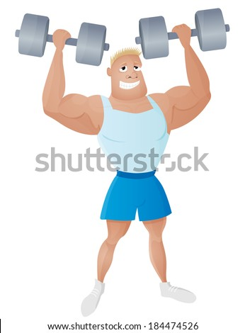 Fit strong and healthy man weightlifter with a dumbbells in the muscular hands. Smiling sportsman bodybuilder character design. Athlete isolated vector illustration.  - stock vector