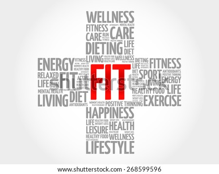 FIT word cloud, health cross concept - stock vector