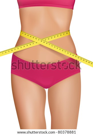 Fit young woman body with measured waistline. Concept of diet. Vector. - stock vector