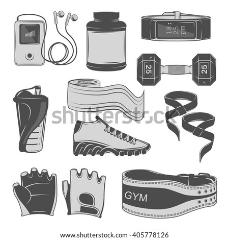 fitness accessories. concept. Vector illustration. gray icons.