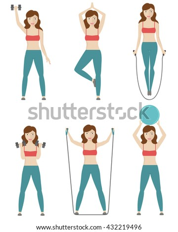Fitness, Aerobic and workout exercise in gym. Female woman poses  - stock vector