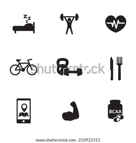 fitness and bodybuilding icons set - stock vector
