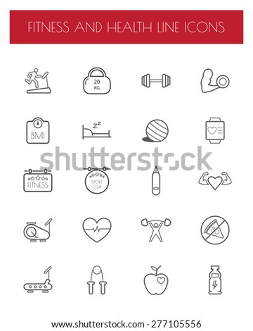 Fitness and Health line icon set. - stock vector