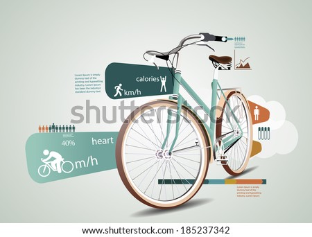 Fitness and sports statistics infographics with bicycle - stock vector