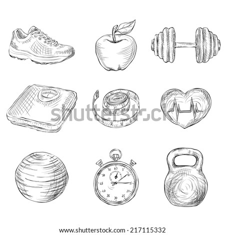 Fitness bodybuilding diet and healthcare sketch icons set isolated vector illustration - stock vector