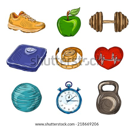 Fitness bodybuilding diet colored sketch icons set isolated vector illustration - stock vector