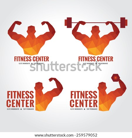 Fitness center logo (Men's muscle strength and weight lifting) - stock vector