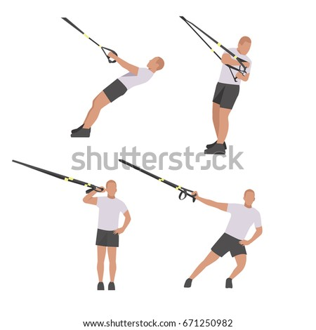 fitness character set robe template isolated stock vector 671250982
