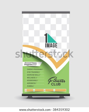 Fitness Club Competition Roll Up Banner Design - stock vector