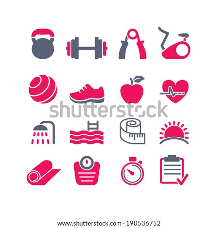 fitness club icons set vector - stock vector