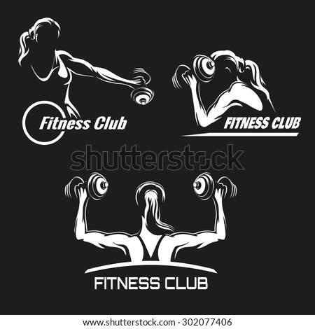Fitness Club logo or emblem set. Training muscled woman. Woman holds dumbbells in various positions. Only free font used. White silhouettes isolated on black background. - stock vector