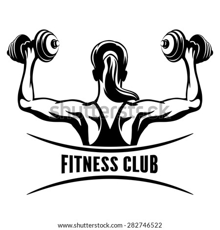 Fitness Club logo or emblem with training muscled woman. Woman holds dumbbells. Only free font used. Isolated on white background. - stock vector