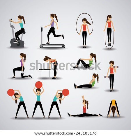 Fitness design over gray background, vector illustration. - stock vector