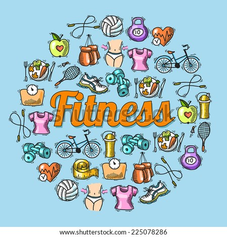 Fitness diet trainer exercise colored sketch hand drawn concept vector illustration - stock vector