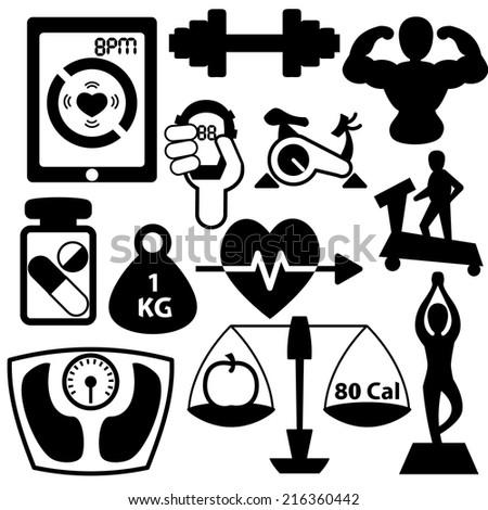 Fitness element vector icon illustration set - stock vector