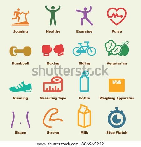fitness elements, vector infographic icons - stock vector