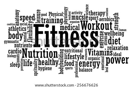 Fitness exercise training tag cloud vector illustration