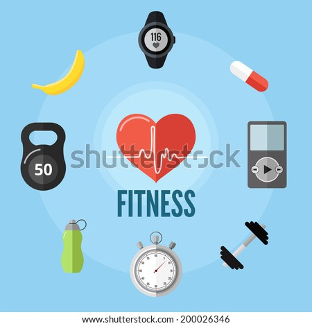 Fitness flat illustration. Workout, healthy food, fruits and vitamins, heart rate monitor, sport pills, audio player, dumbbell,  stopwatch, sports flask, sport activity, weight, exercises. - stock vector