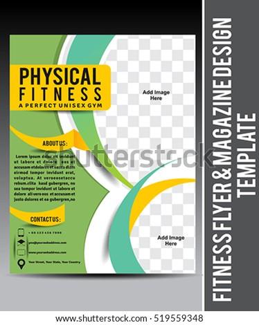 Fitness Flyer Magazine Design Template Vector Stock-Vektorgrafik ...