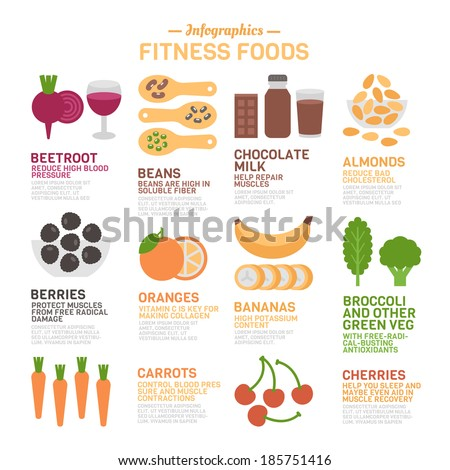 Fitness Foods Infographics - stock vector