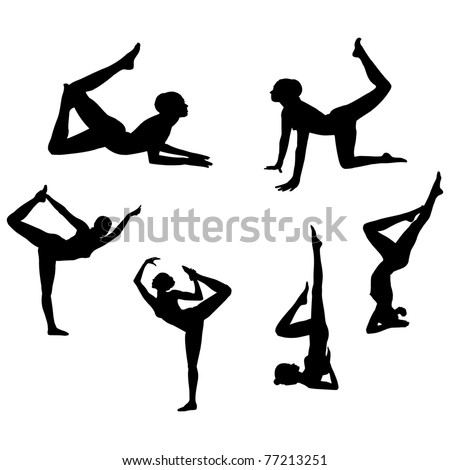 Fitness girls in gymnastic Silhouettes.Vector - stock vector