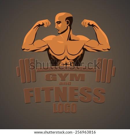 Fitness gym logo mock up bodybuilder showing biceps - stock vector