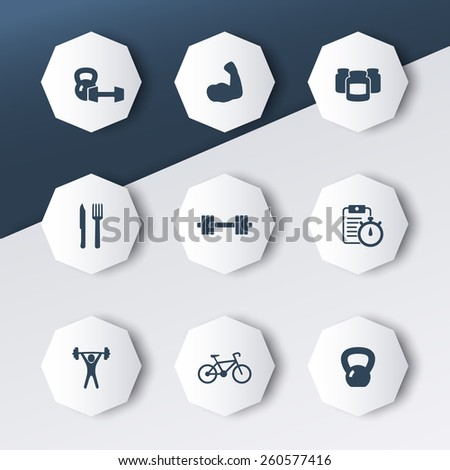 fitness, health, gym icons on abstract geometrical background vector illustration, eps10, easy to edit - stock vector