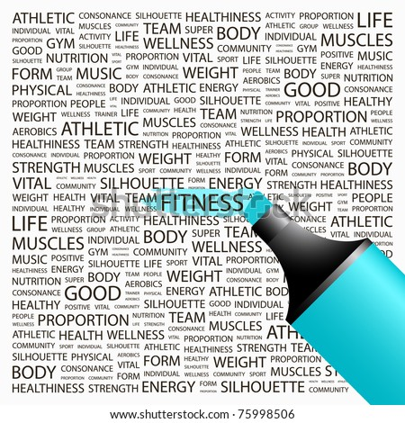 Fitness. Highlighter over background with different association terms. Vector illustration.