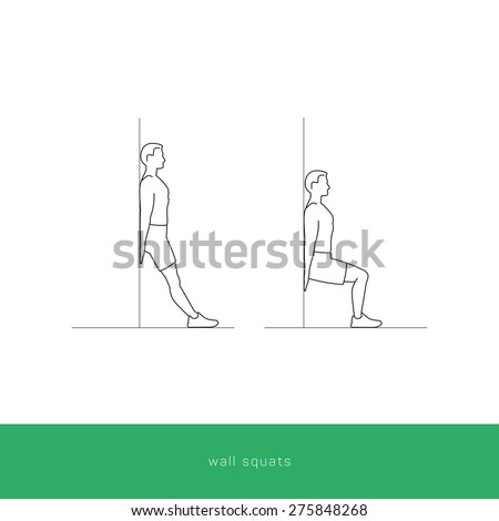 Fitness Icon doing wall squats workout. Fitness instruction. To use for workout instructions. Vector and illustration design