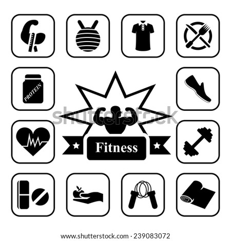 Fitness icon set on white background - stock vector