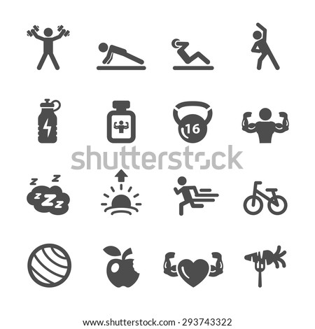 fitness icon set 2, vector eps10. - stock vector