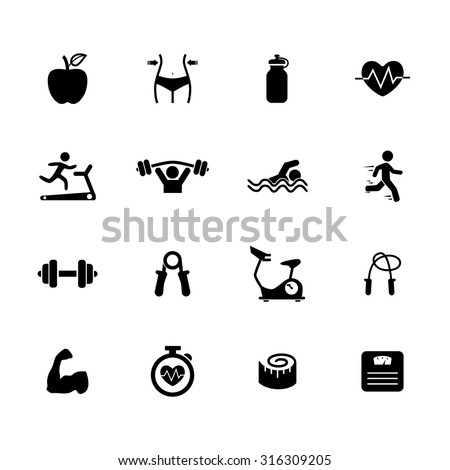 Fitness Icons Health Icon Gym Icon Stock Vector 316309205 ...