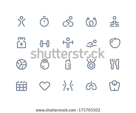 Fitness icons. Line series - stock vector
