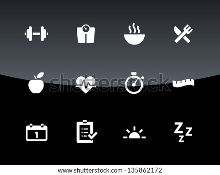 Fitness icons on black background. Vector illustration. - stock vector
