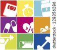 fitness icons over colorful squares. vector illustration - stock vector