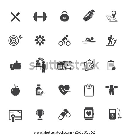 Fitness Icons set - set of fitness icons / amenities .EPS10 vector - stock vector