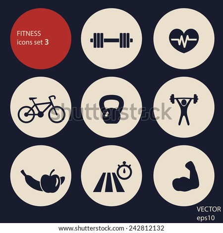 fitness icons set 3 vector illustration, eps10, easy to edit - stock vector